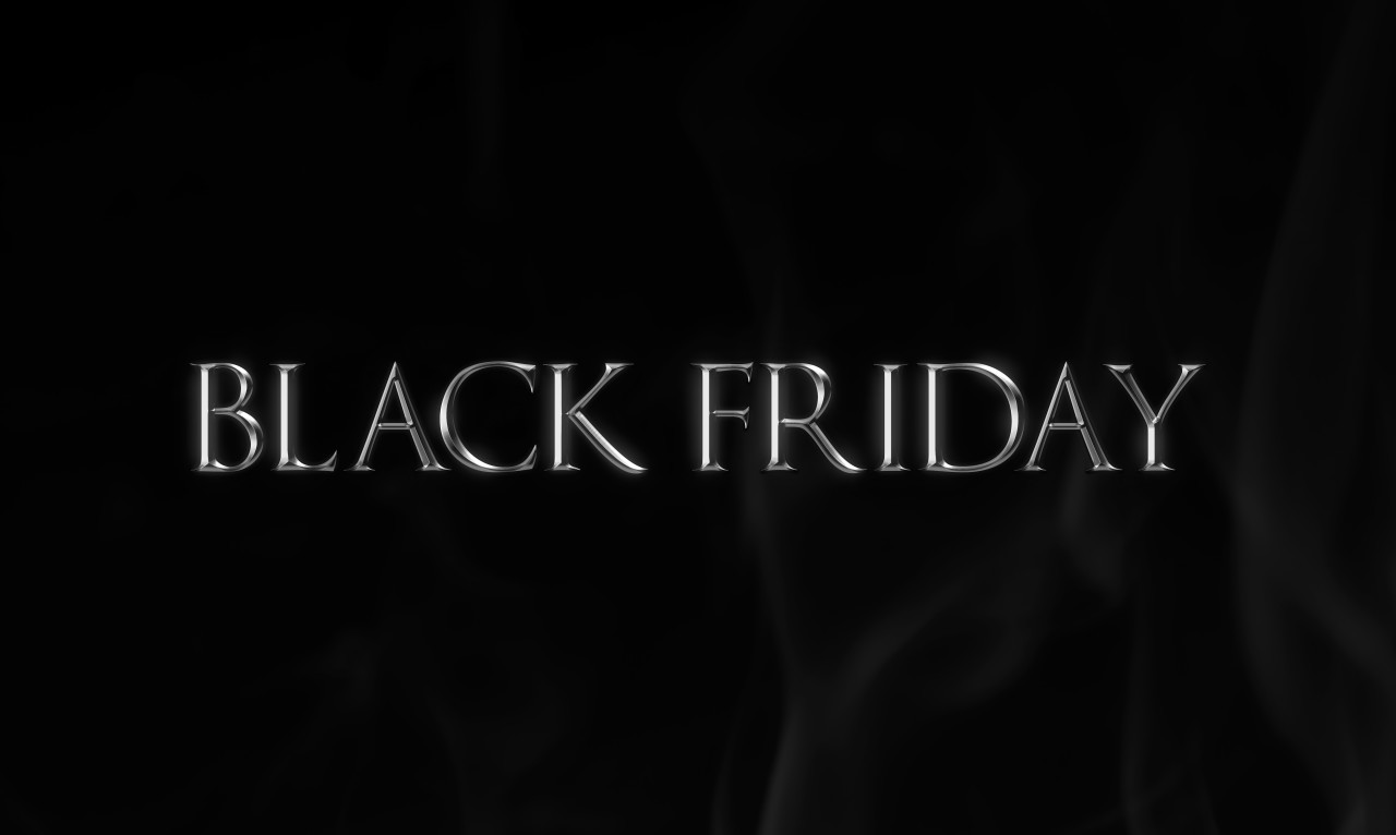 Black Friday Silver Word on blackboard background