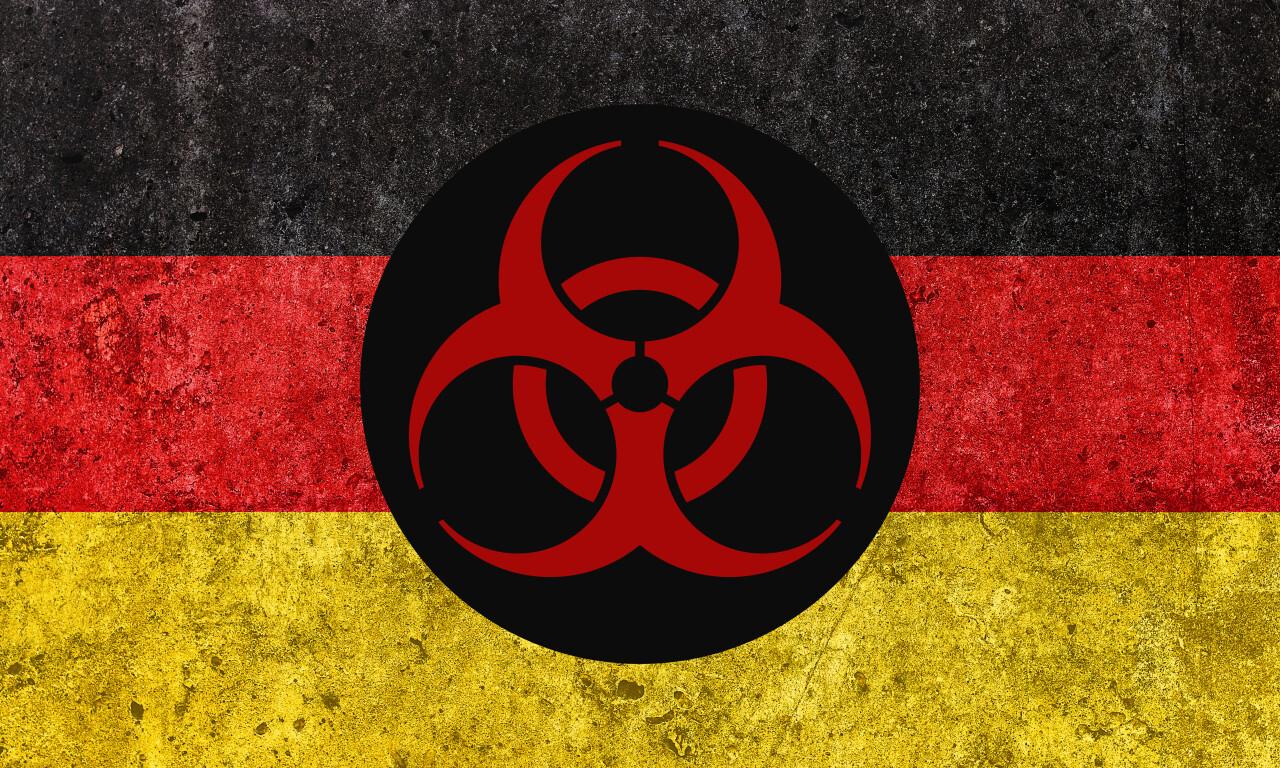 German flag with pandemic symbol