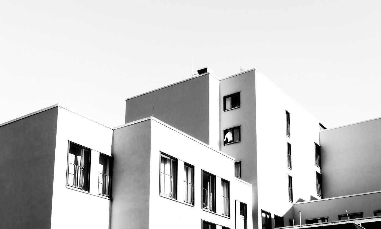 light black and white building