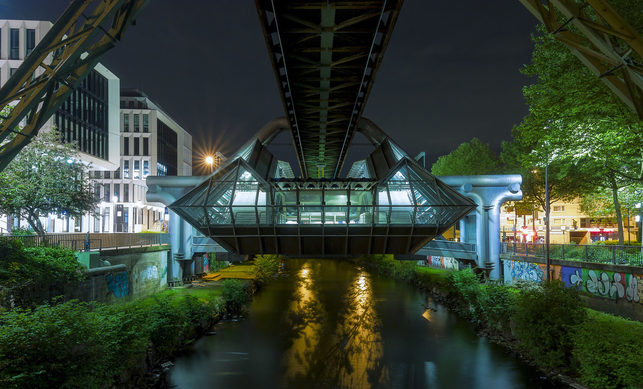 monorail station in wuppertal at night