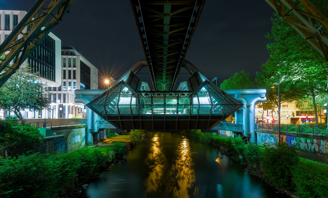 monorail station at night