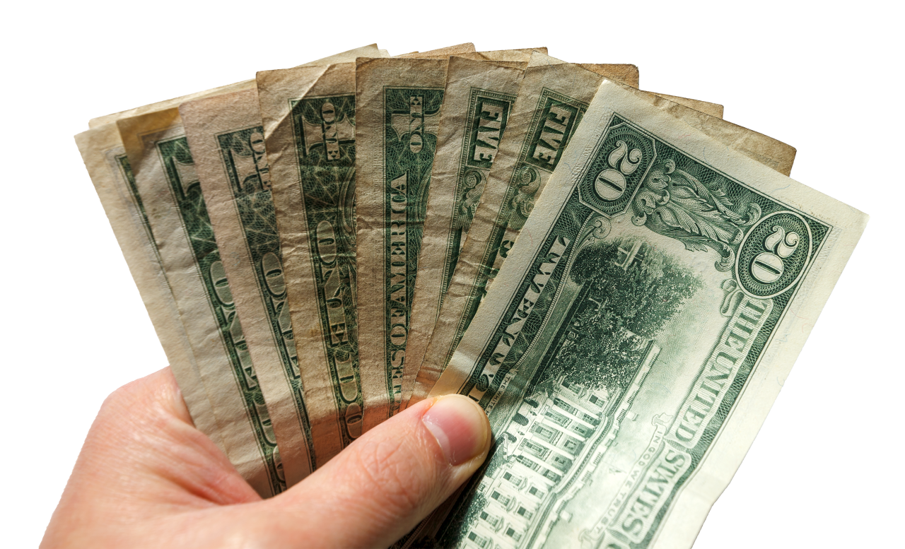 dollar banknotes in hand transparent PNG