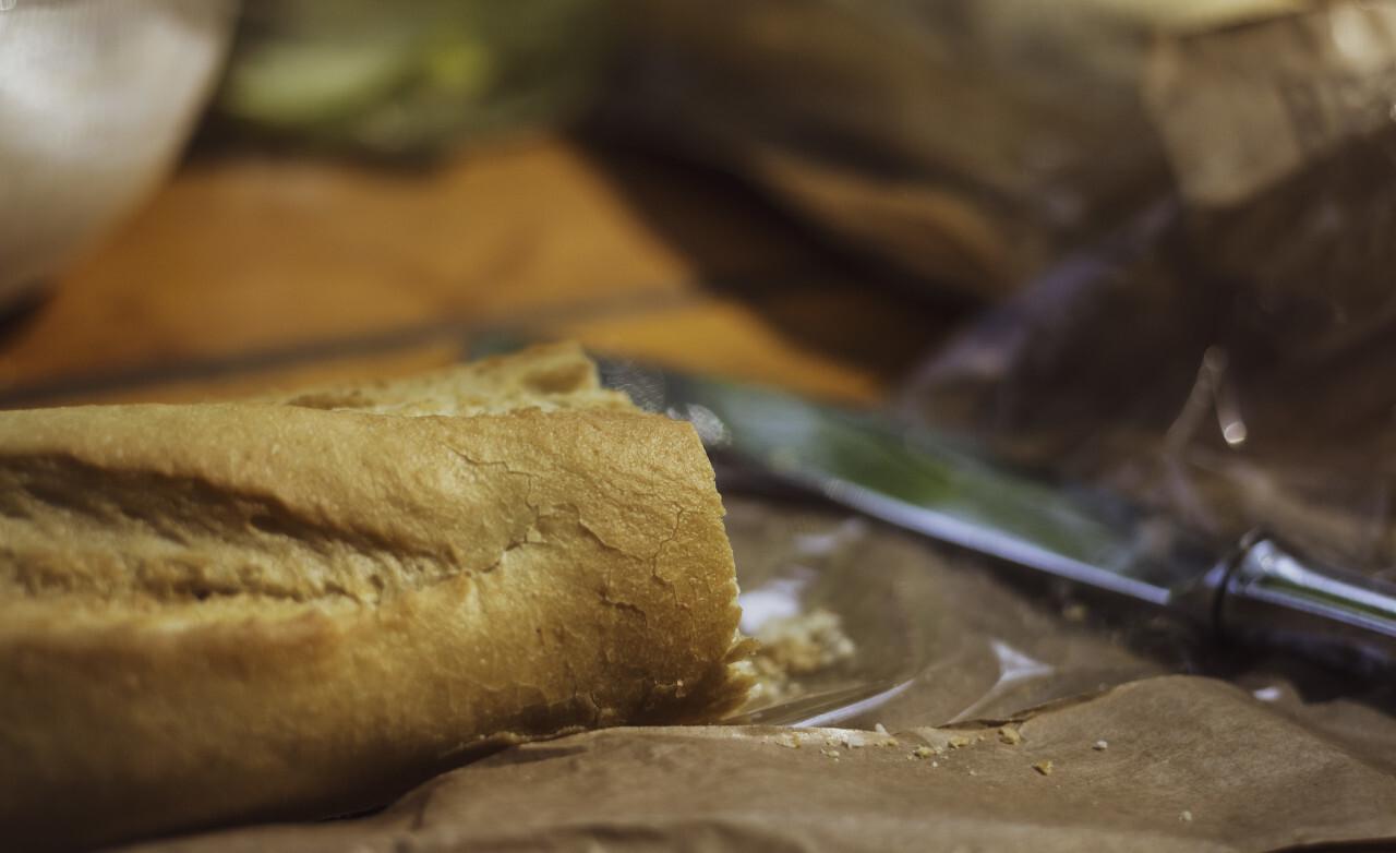 sliced baguette on a garden table