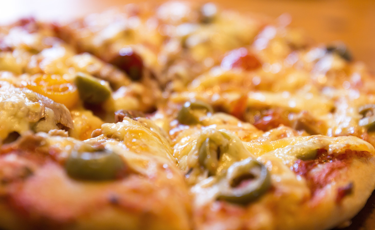 Fresh italian classic pizza with olives