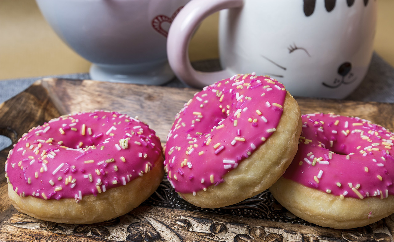 pink donuts on a plate