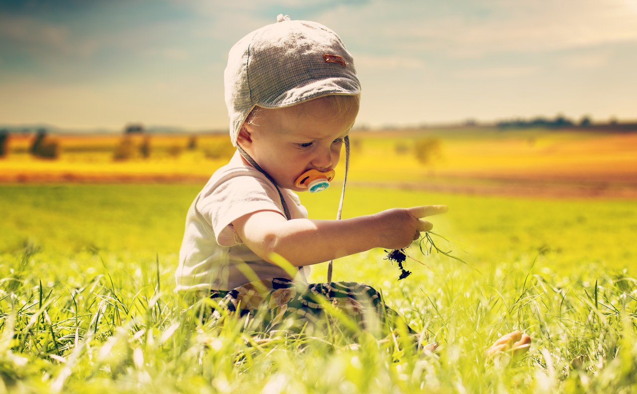 little baby child sitting on the fields with grass in his hand and a pacifier in his mouth