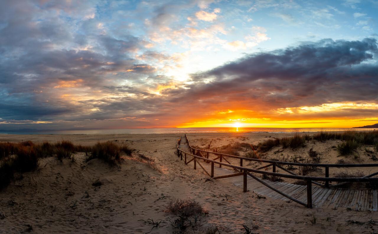 Awesome Sunset Beach Panorama Spain