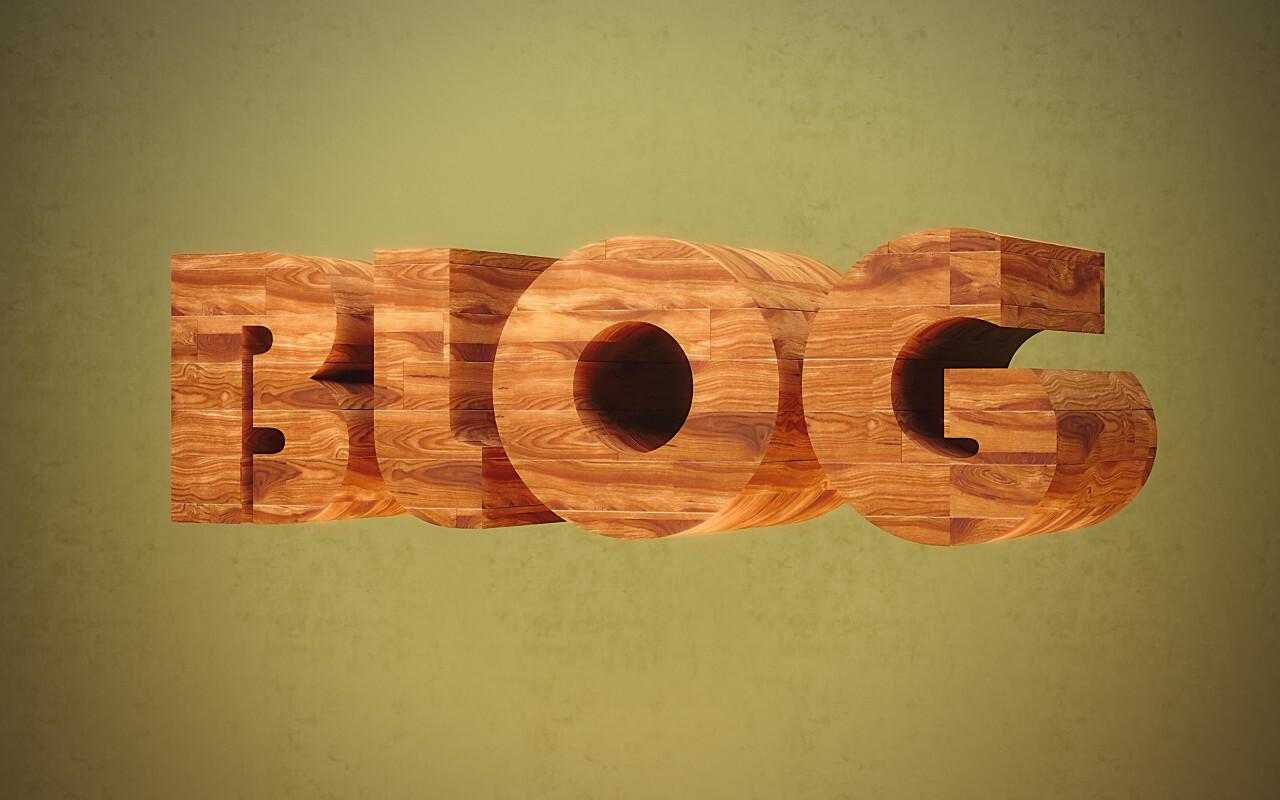 blog wooden font
