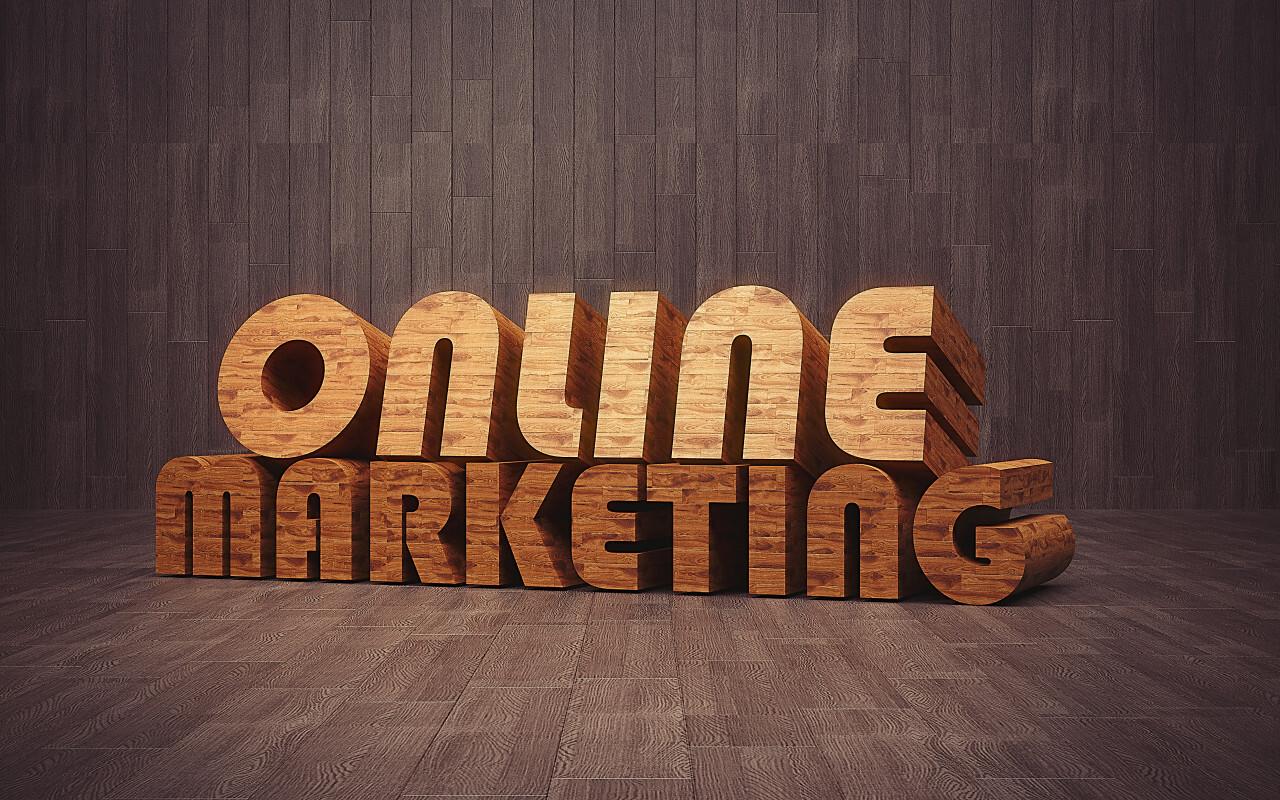 online marketing wooden 3D text