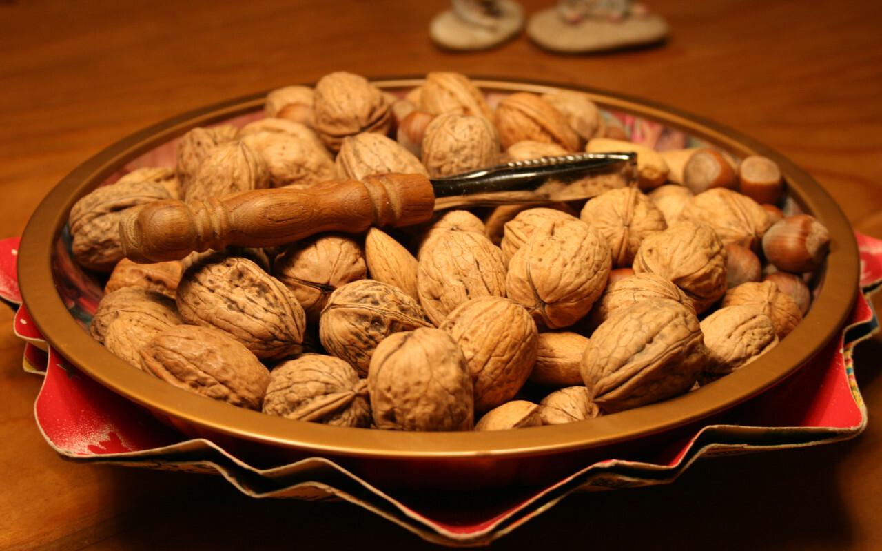 whole walnuts on a plate