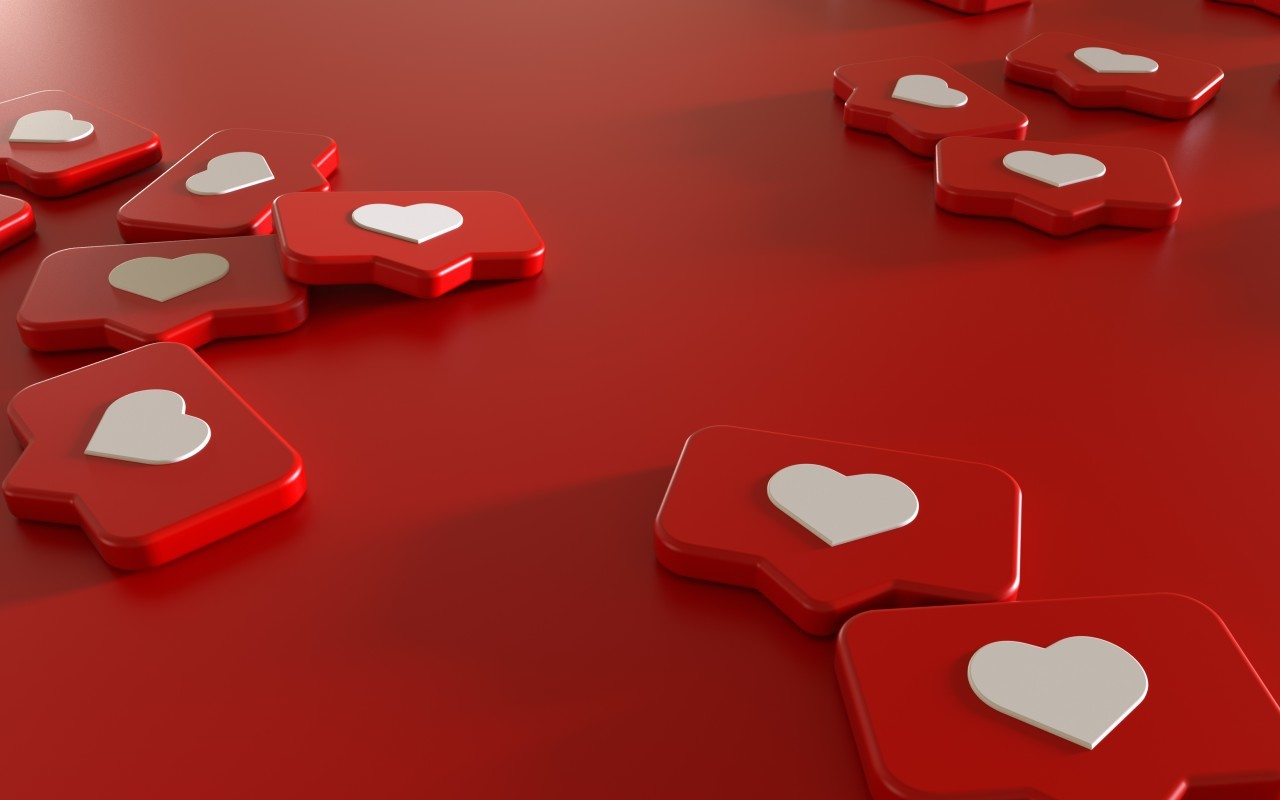3D-Illustration  Social Media Network Love and Like Heart Icon Rendering Background in red