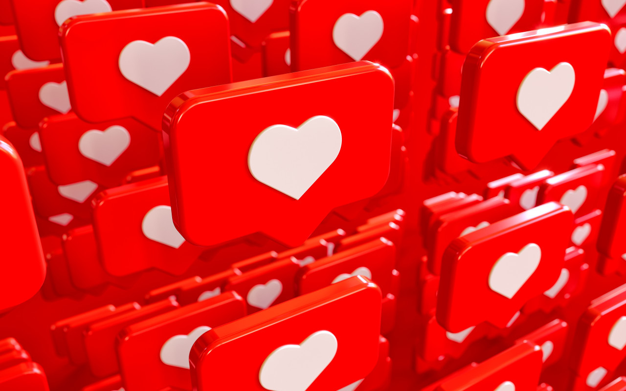Social Media Network Love and Like Heart Icon 3D Rendering Background in red