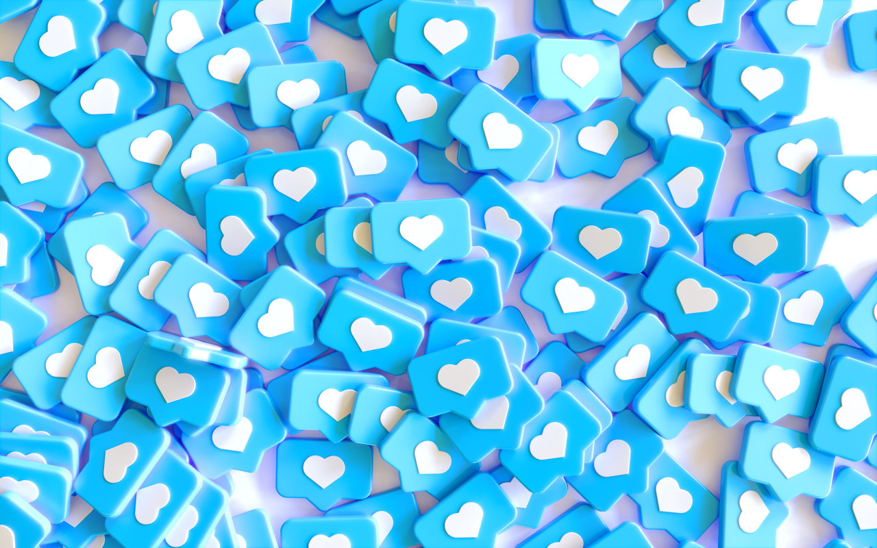 Social Media Network Love and Like Heart Icon Rendering white Background in blue