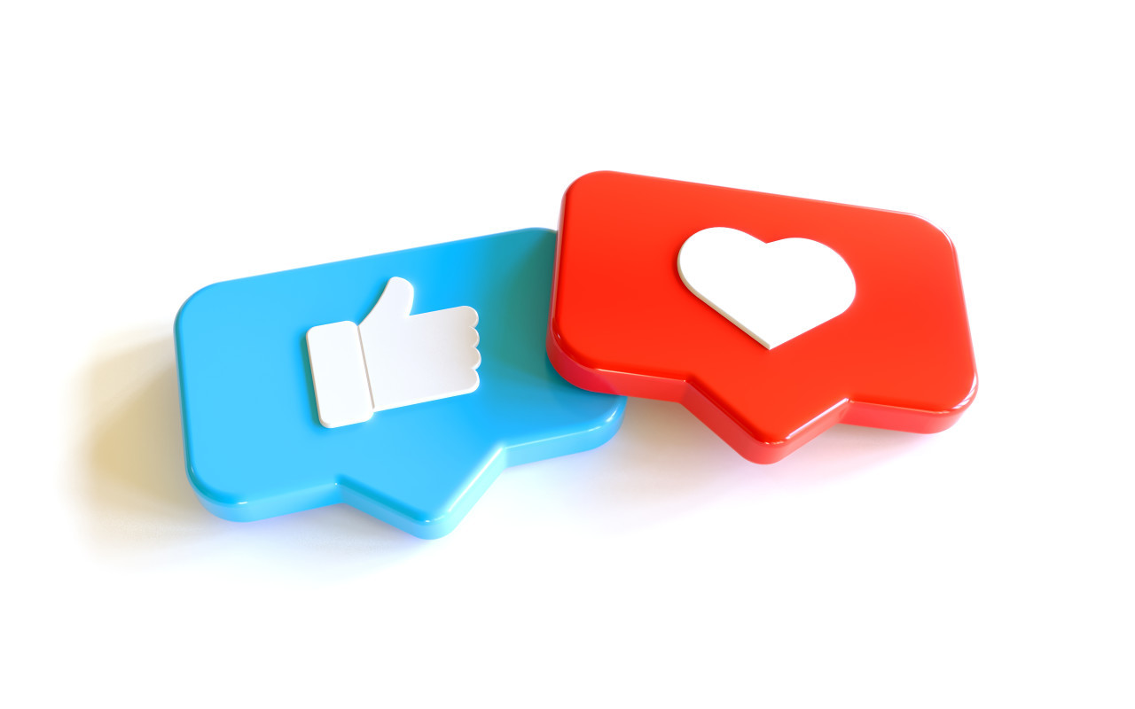3D Social Media Network Love and Like Heart and thumbs up Icon Rendering white Background in red and blue.