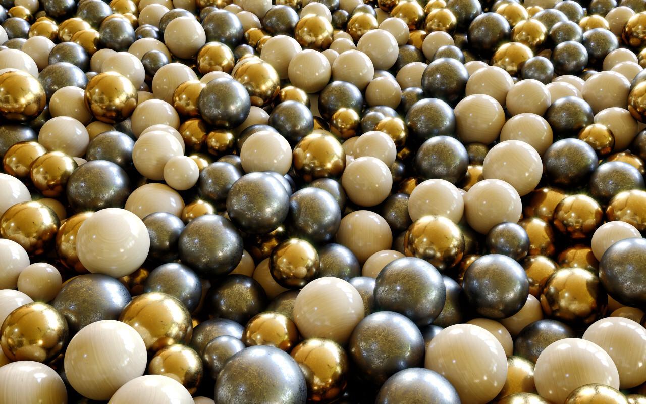 golden beads background Gold & Silver Balls / Spheres