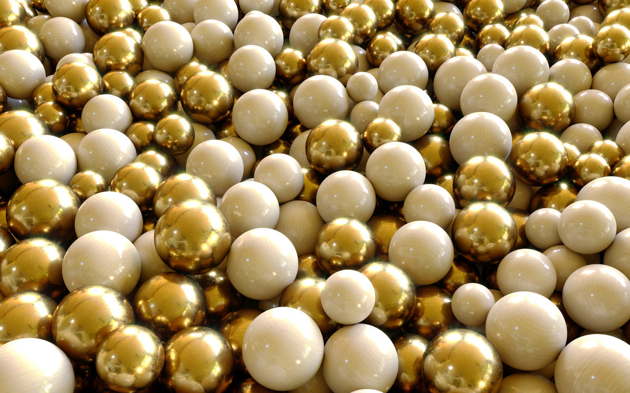 Golden beads background Gold & Silver Balls / Spheres