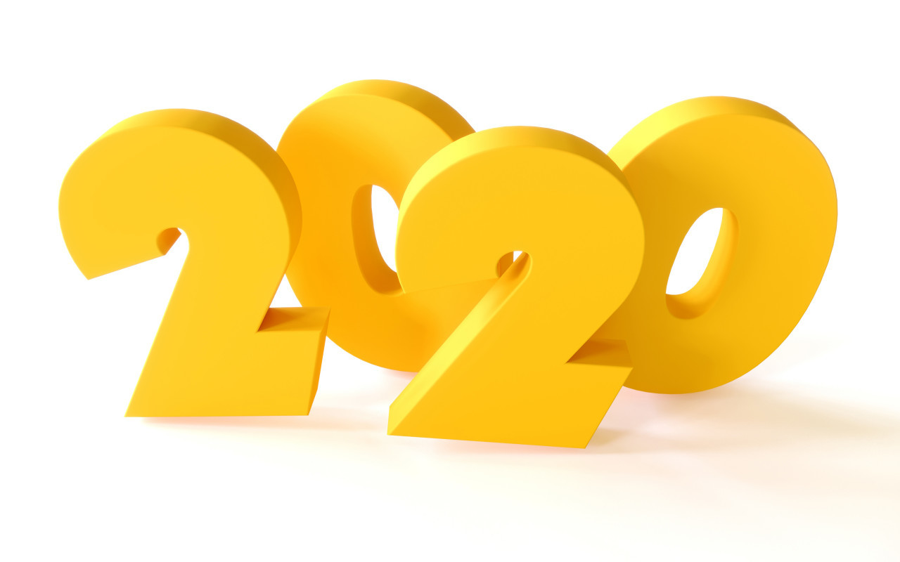 2020 yellow word text on white background