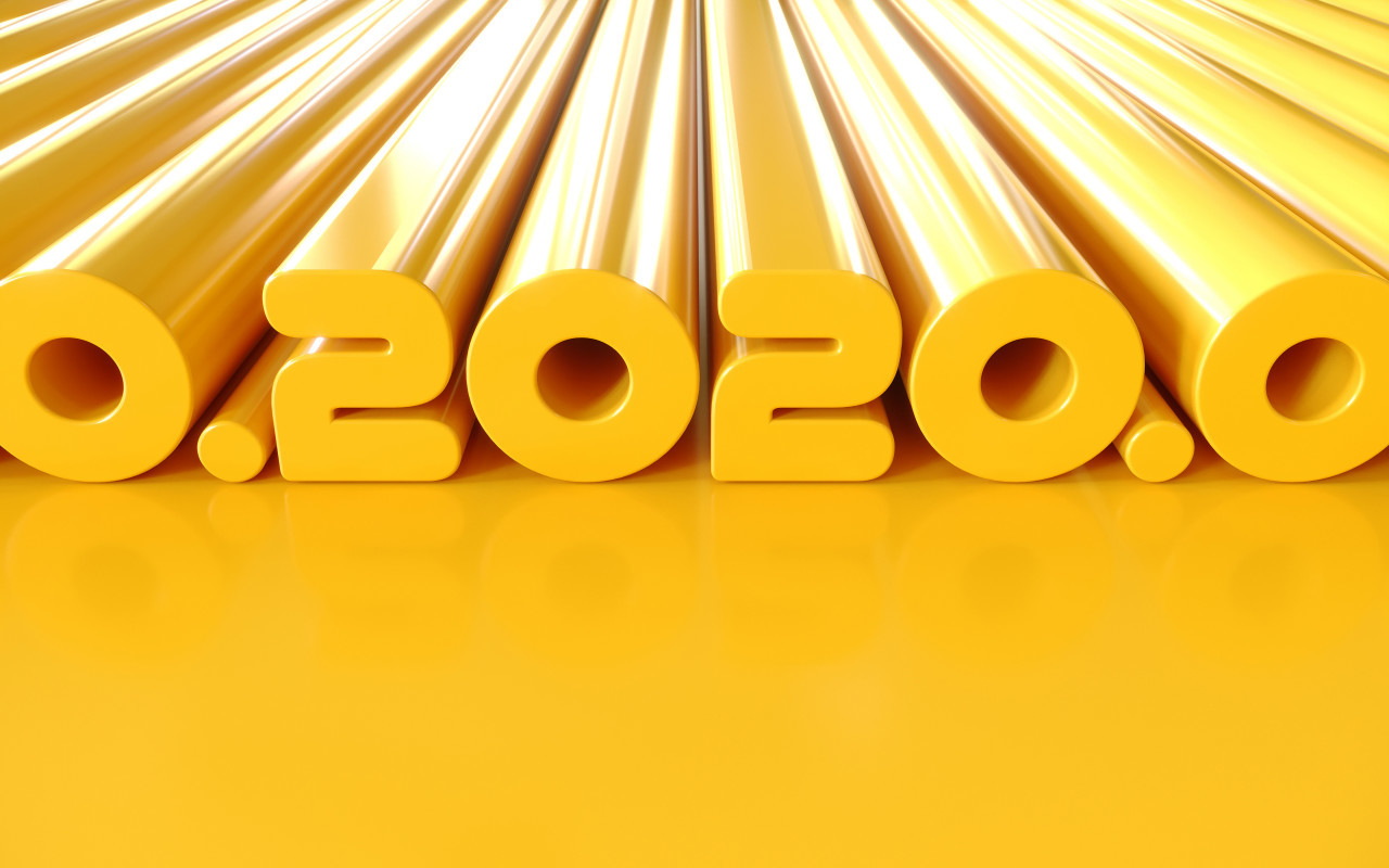 2020 new year 2020 gold text