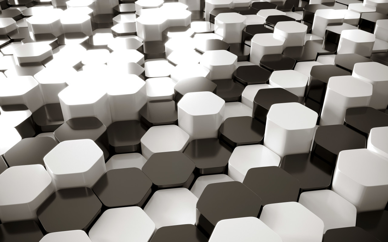 black and white lozengo abstract geometric background with hexagons