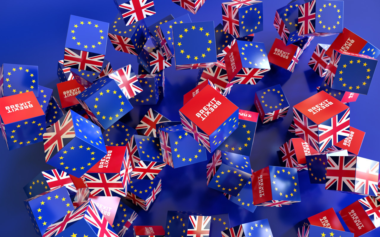 Europe and United Kingdom political and economic relationship, 3d rendering background, Brexit concepts