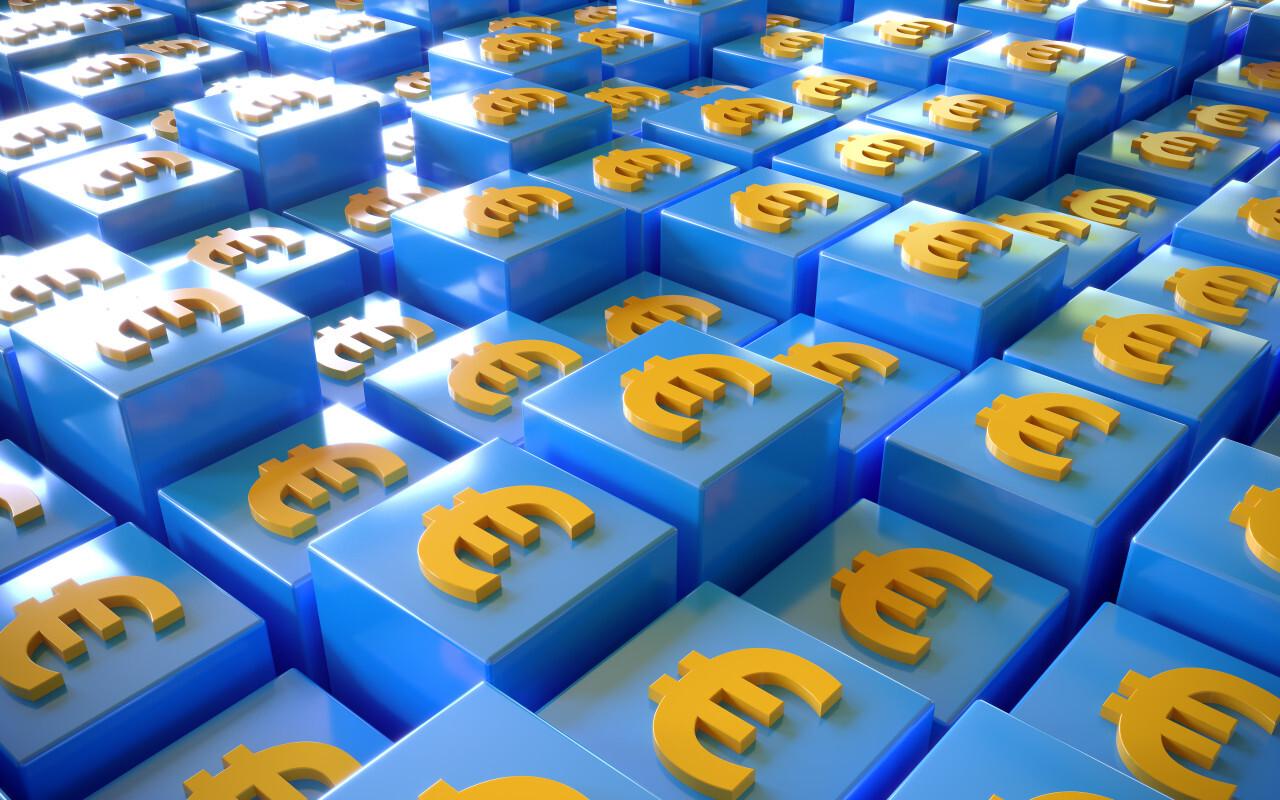 Euro Money SIgn Background on Blue Cubes