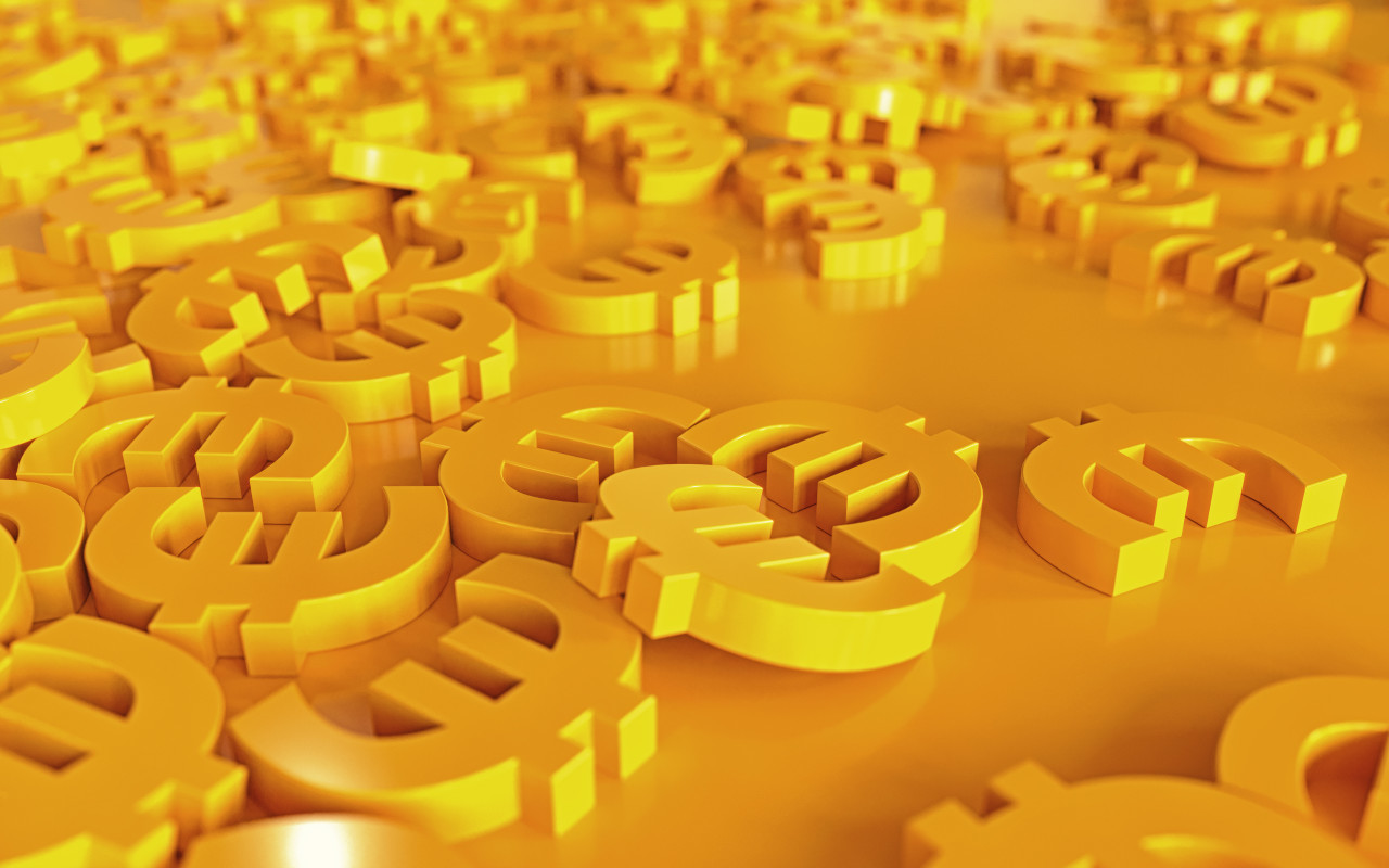 Yellow 3D Euro Money Sign Background