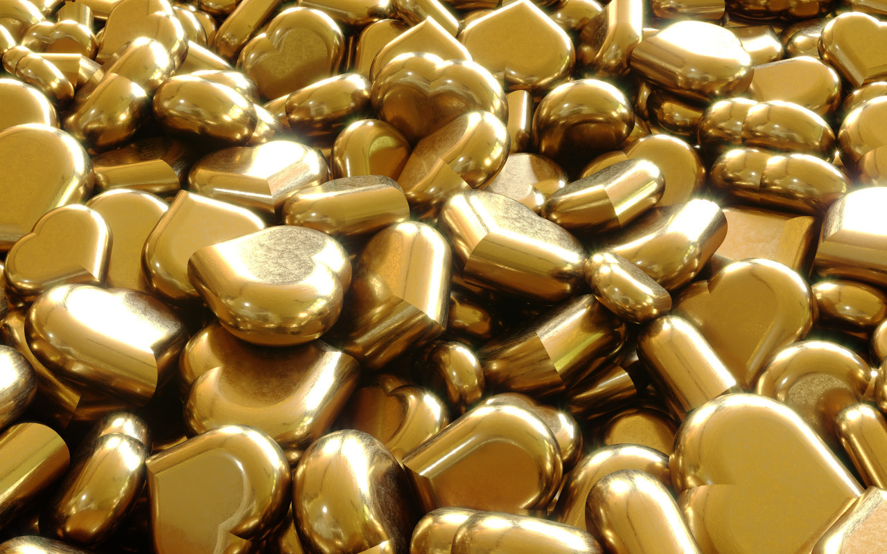 Glittery gold hearts background 3D