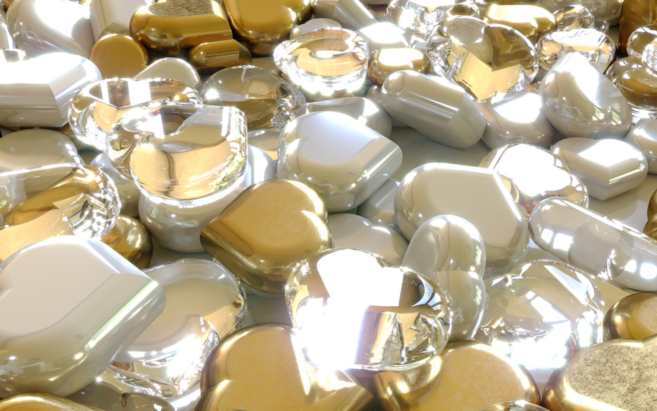 Glittery gold, diamon and silver hearts background 3D