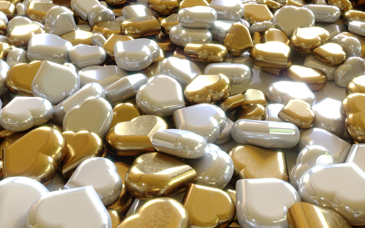 Glittery gold and silver hearts background 3D
