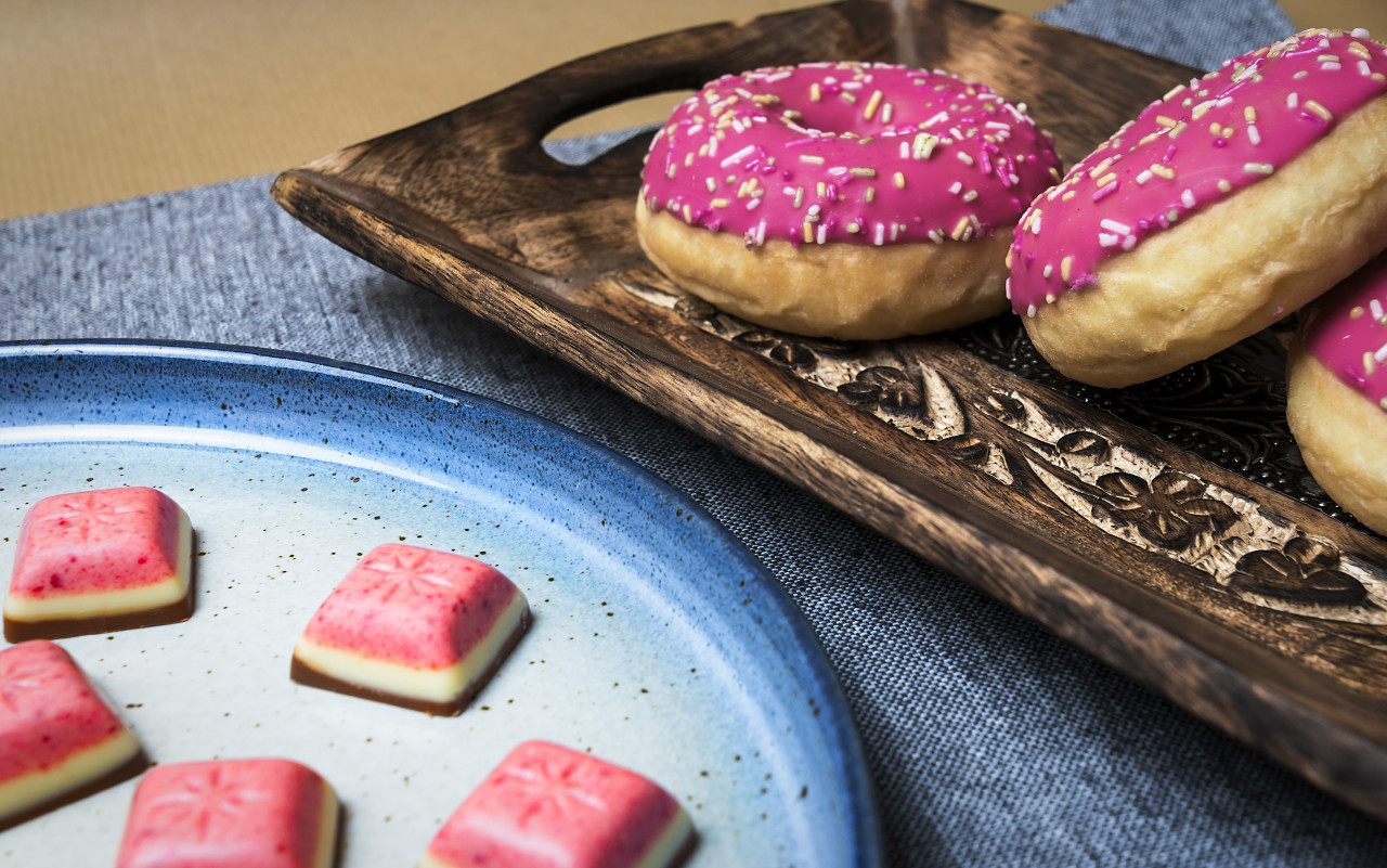 pink donuts and strawberry chocolate pralines