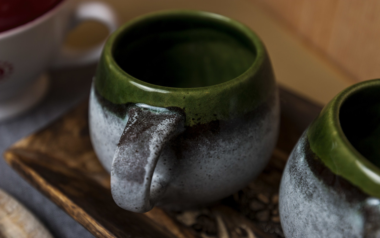 hand made green cups