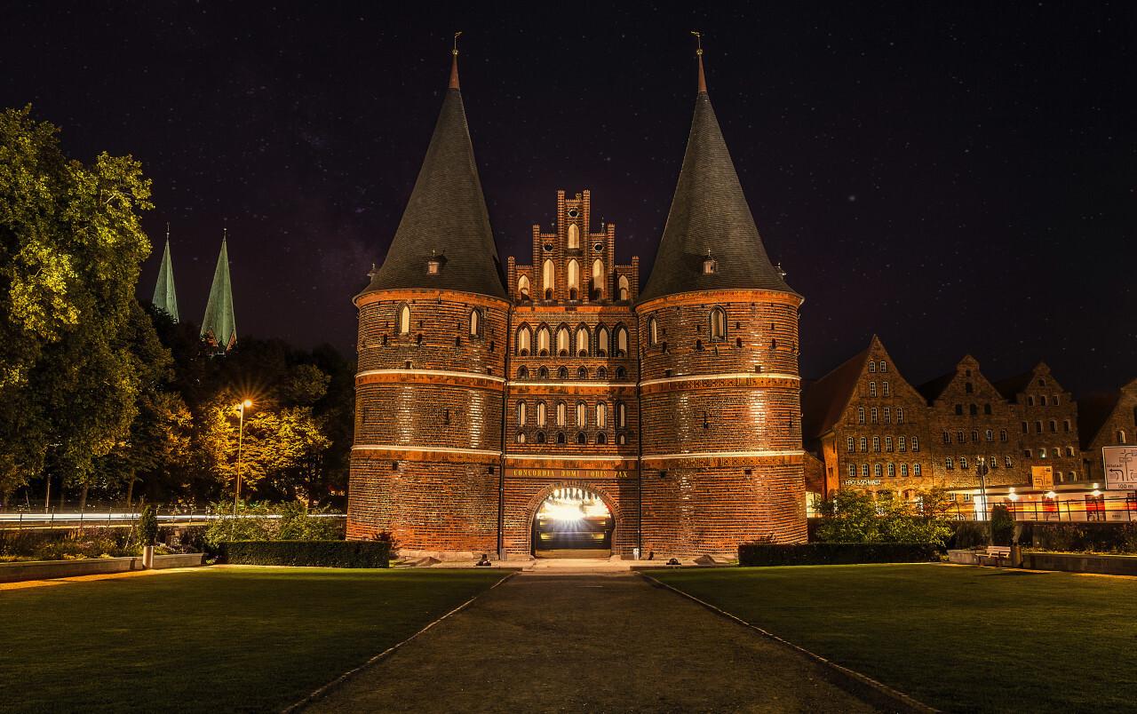 Holstentor in Lübeck - City Gate at night