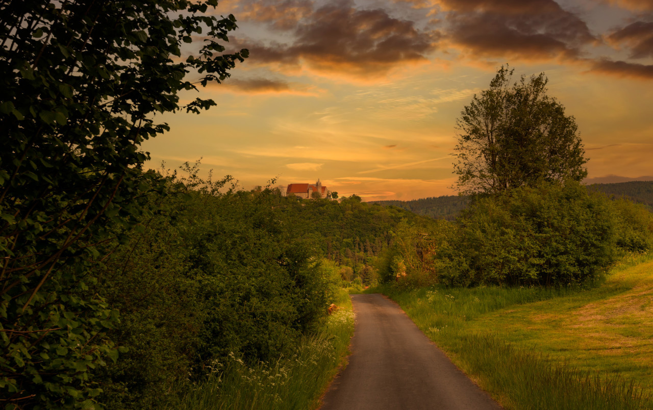 Melsungen by Kassel in Hesse, Germany - Rural Landscape with a castle on a hill