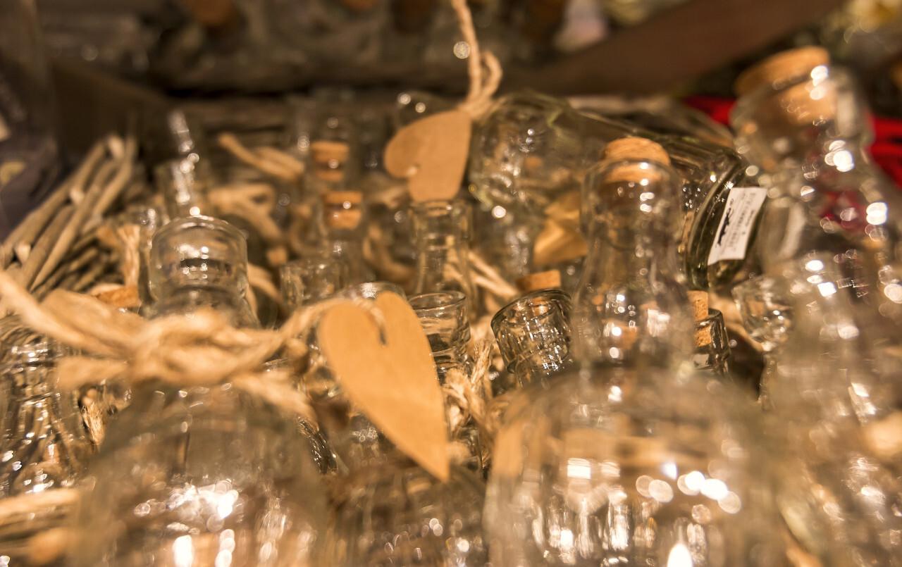 glass bottles in a shop