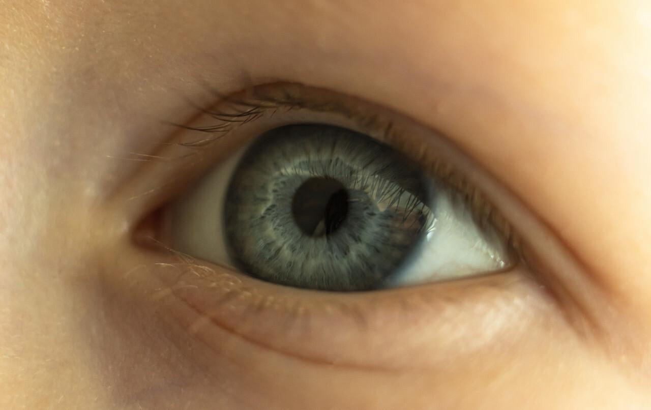 childrens eye close up