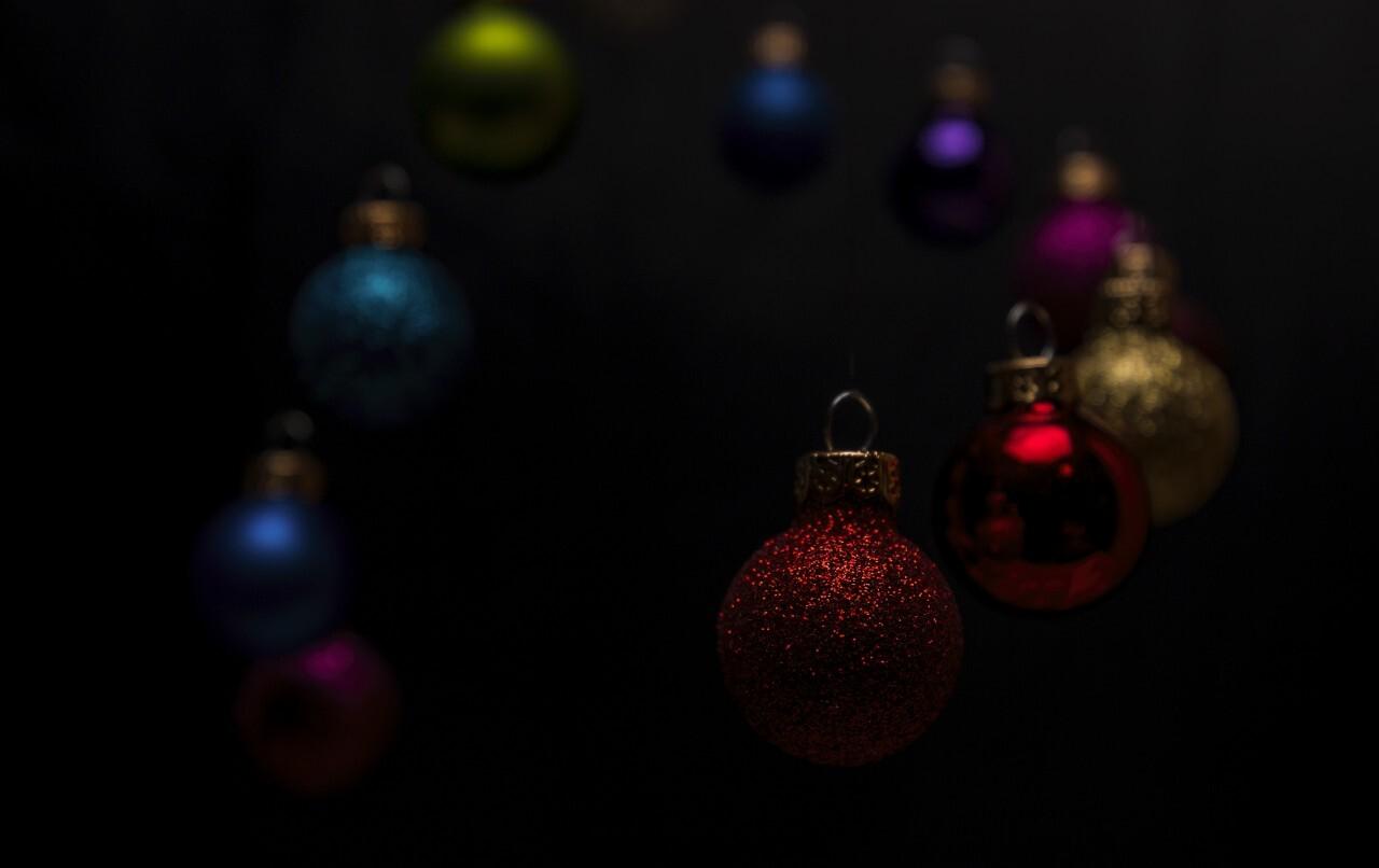 christmas tree balls black background