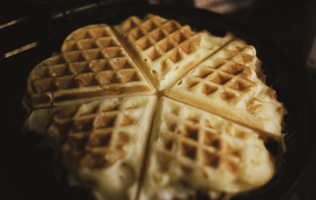 heart shaped waffles in iron waffle pan