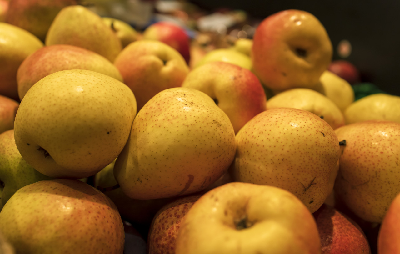 yellow pears on the market