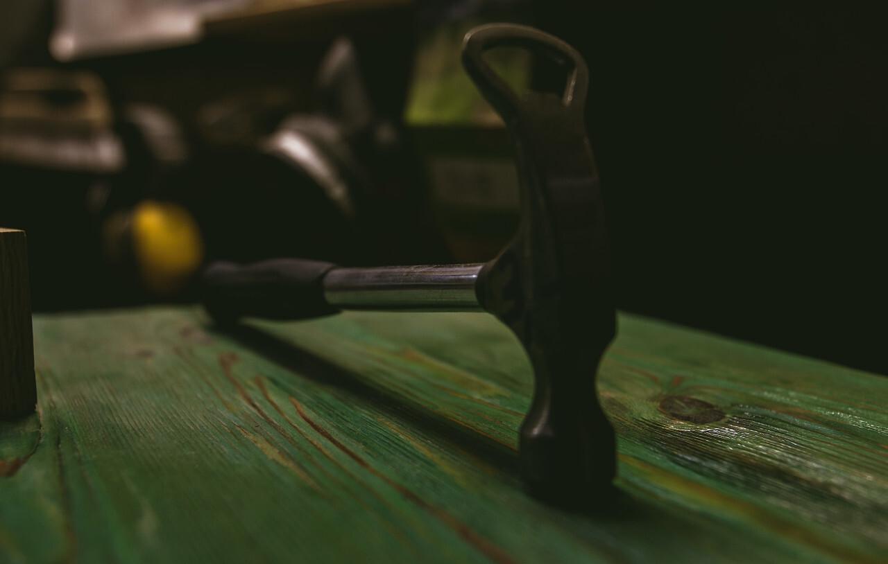 hammer on wood