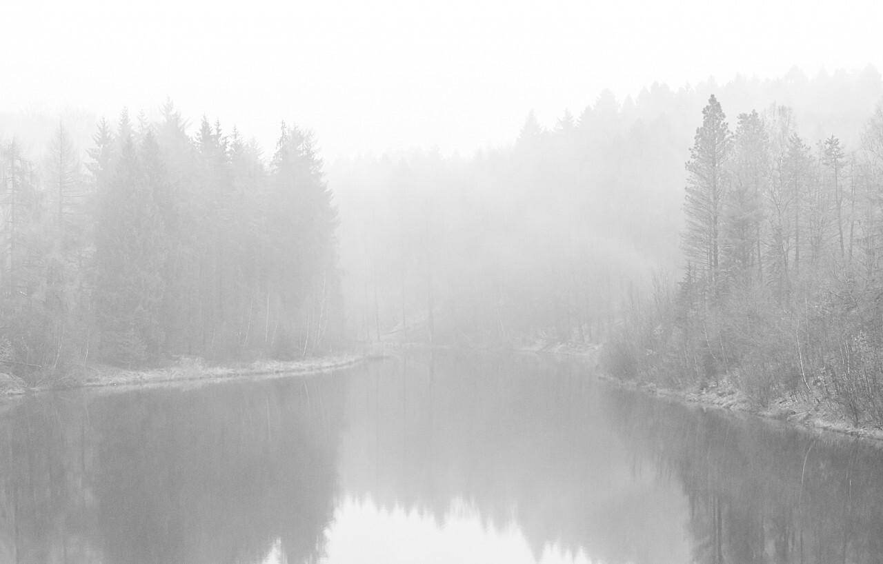 fog at the lake black and white