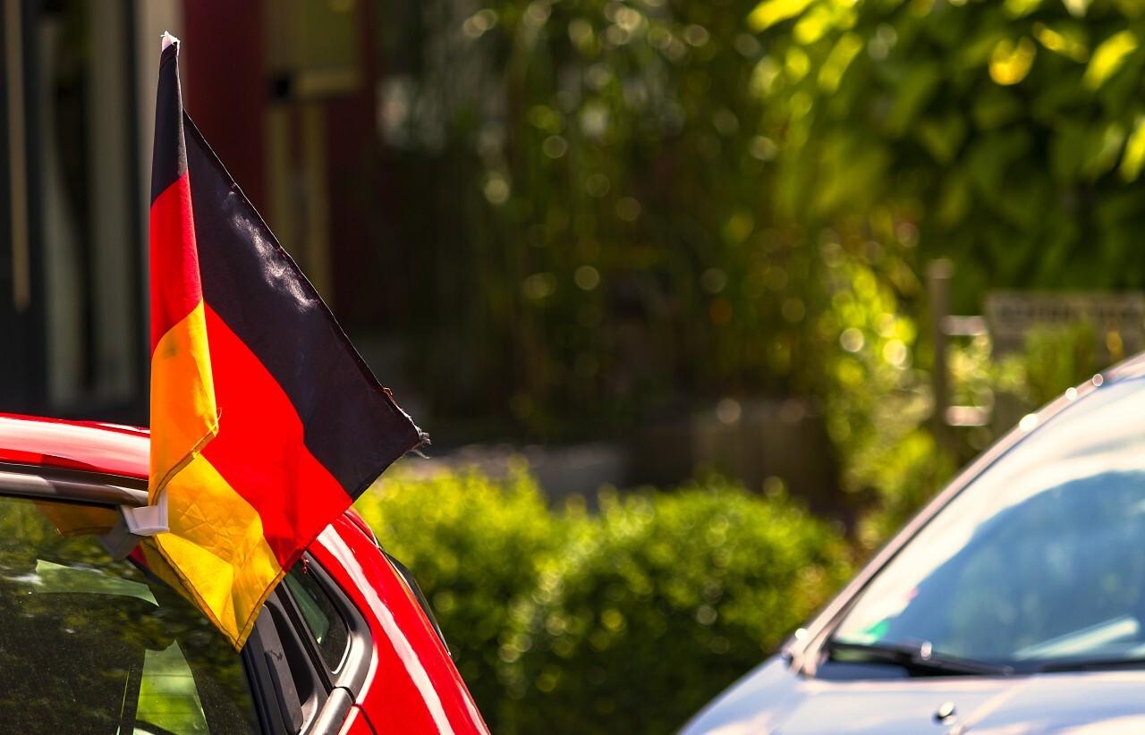 german flag on a car