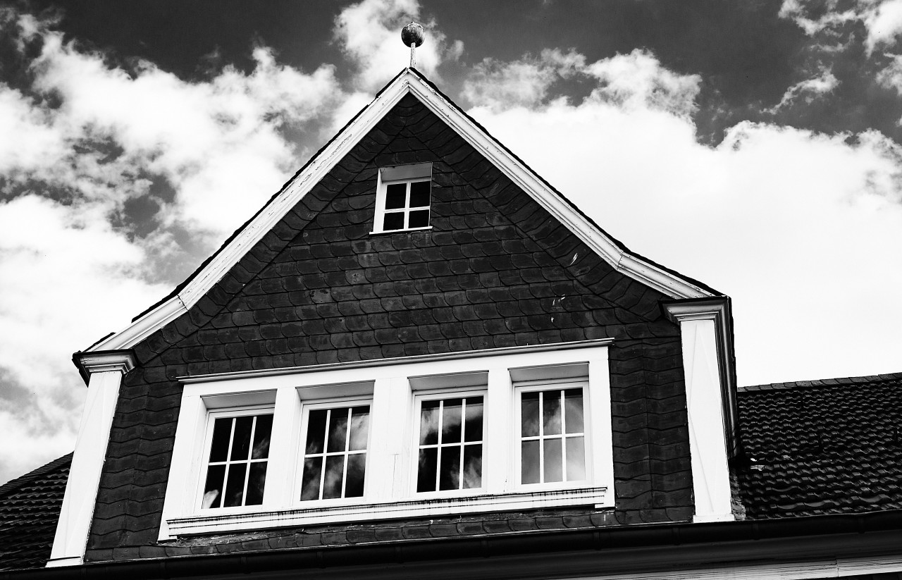 beautiful house black and white