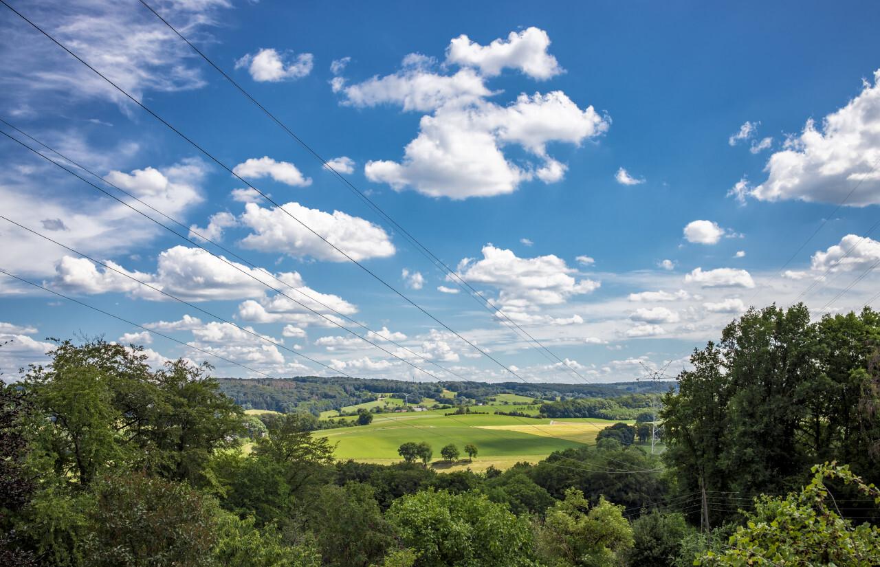 Beautiful Blue Sky over a German rural landscape near Velbert Langenberg