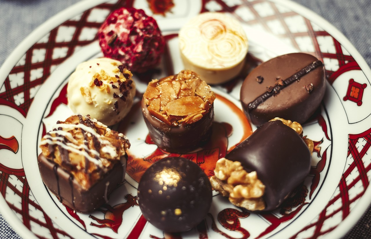 Various exquisite chocolate pralines for valentines day