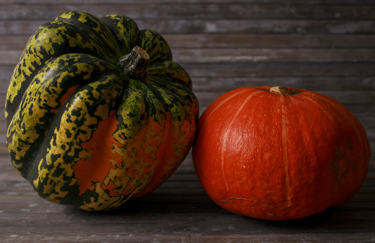 Two pumpkin on wooden background