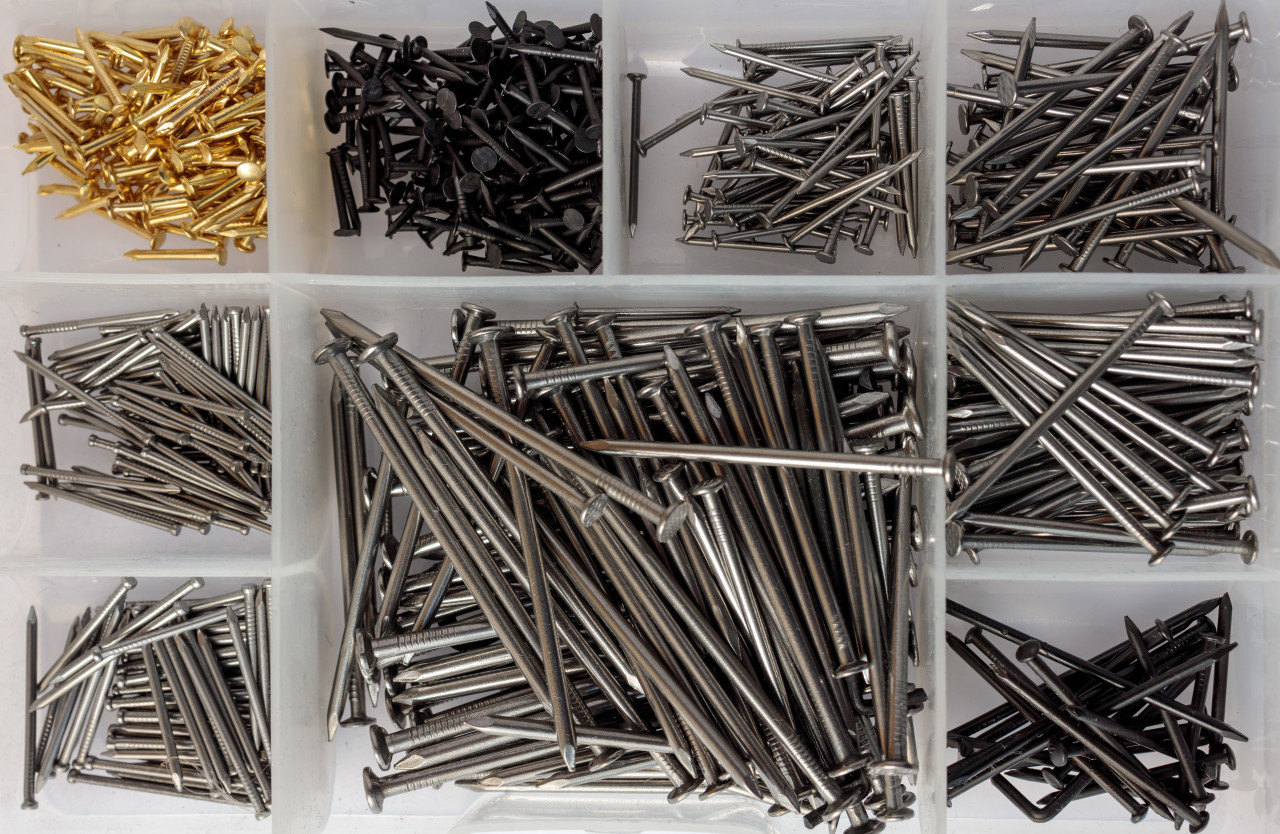 Nails in a tool box