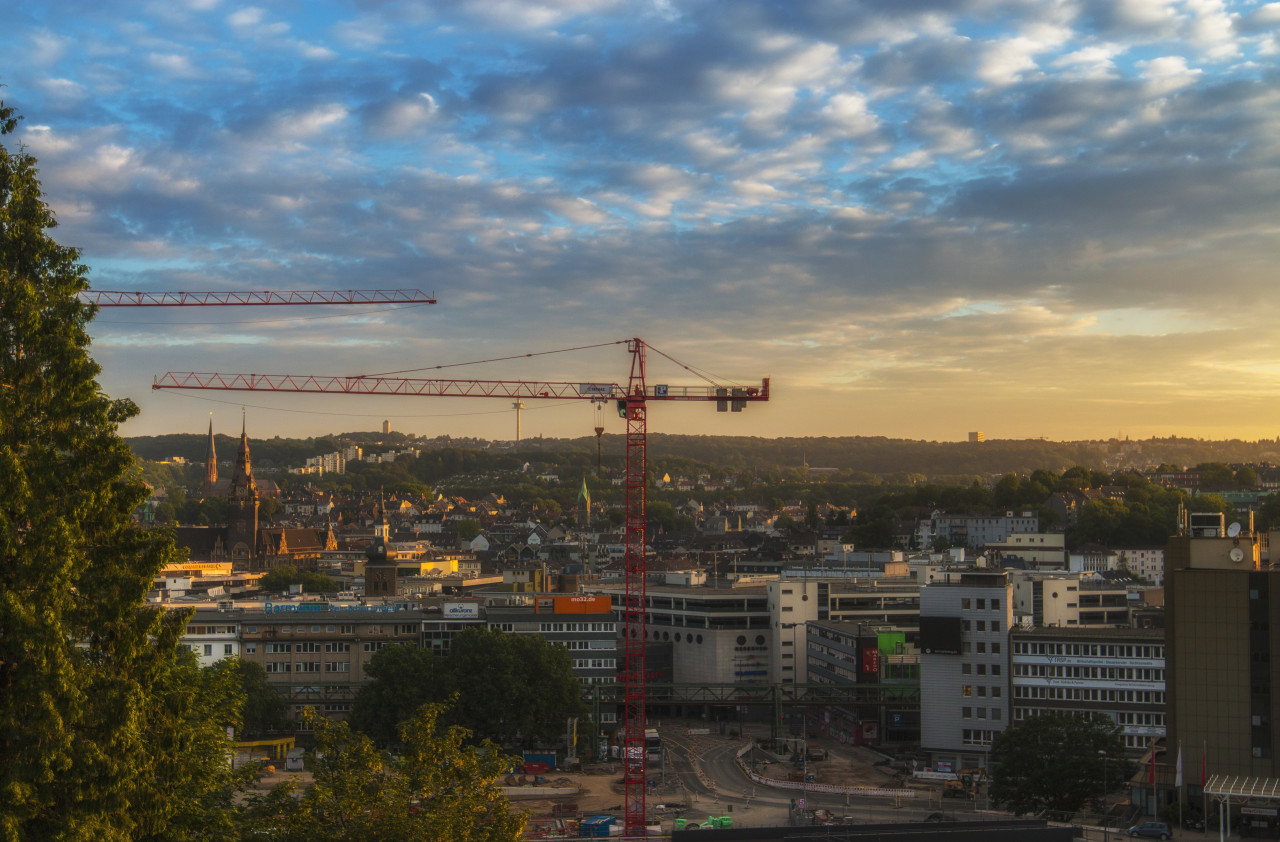 Wuppertal Cityscape by day with beautiful clouds wuppertal cityscape panorama