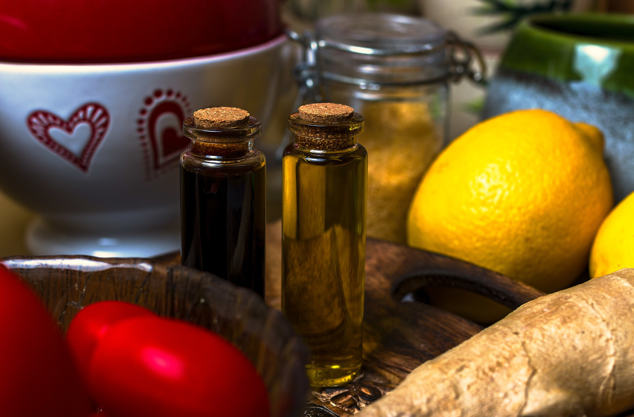 vinegar and oil in the kitchen
