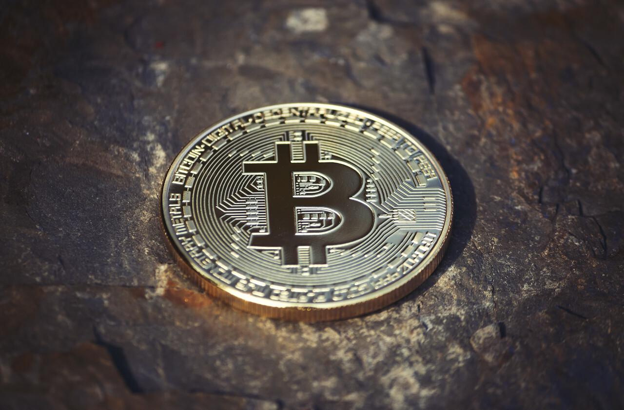 bitcoin on stone