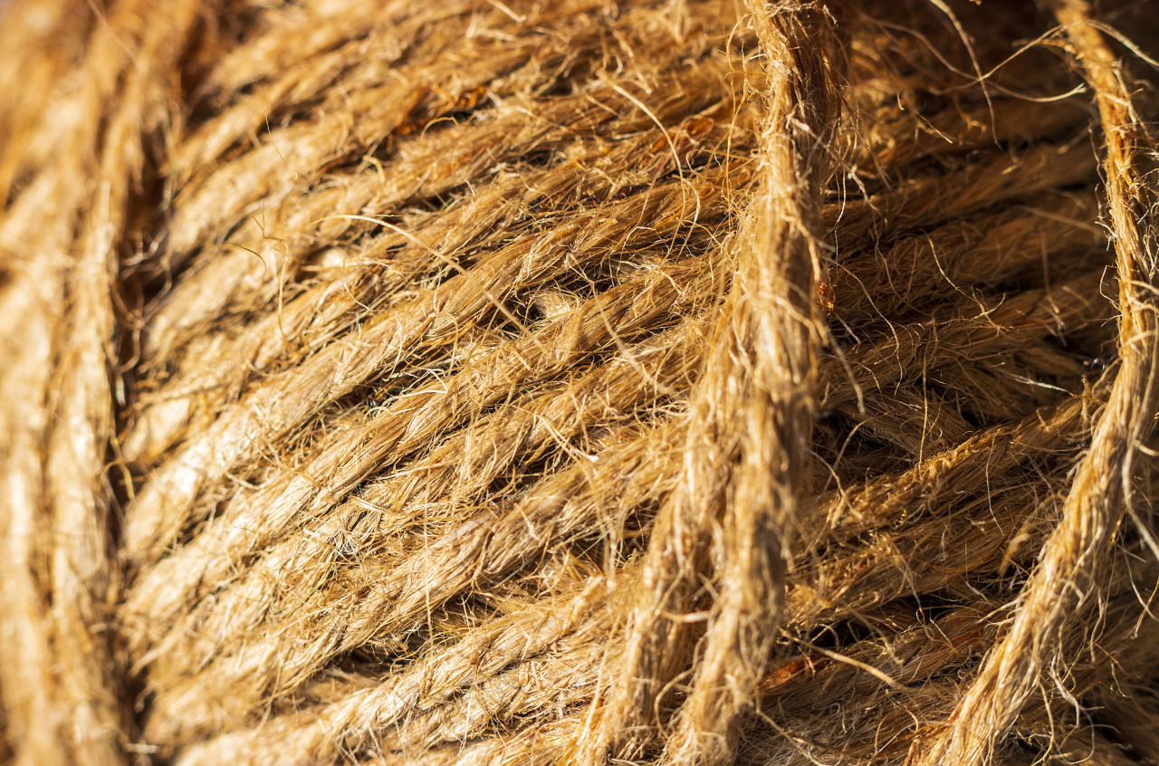 Jute string roll close up